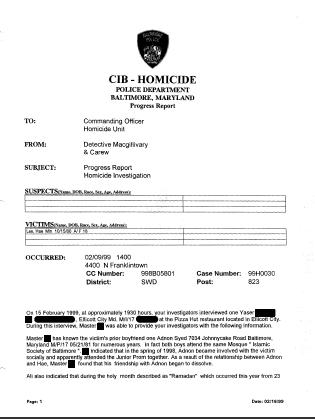 Homicide report template