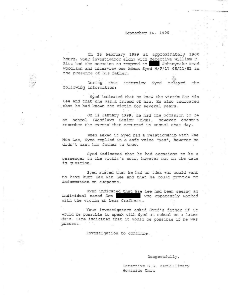 documents undisclosed podcast memorandum of ritz and macgillivary s 26 1999 interview of adnan syed written 14 1999