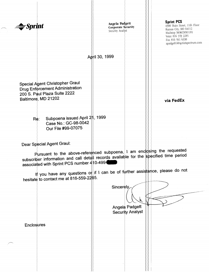 Documents undisclosed podcast response to dea subpoena for bilals phone records april 1 1999 madrichimfo Image collections
